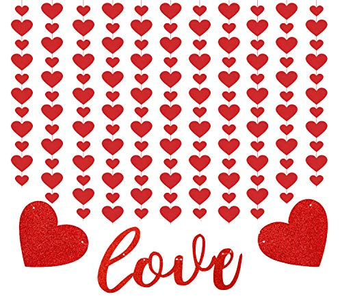 SIMUER Purpurina Love Corazón Baner Guirnalda De Corazón Roja Pequeña Decoración De Fiesta De Día De San Valentín para Proposición Boda Fondo De Foto