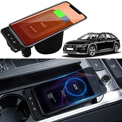 Cargador Inalámbrico Coche para Audi A6 S6 RS6 2019-2022 A7 S7 RS7 2020 2022 Panel de Accesorios de la Consola Central, 15W Carga Rápida Teléfono Cargador con USB Puerto para iPhone Samsung