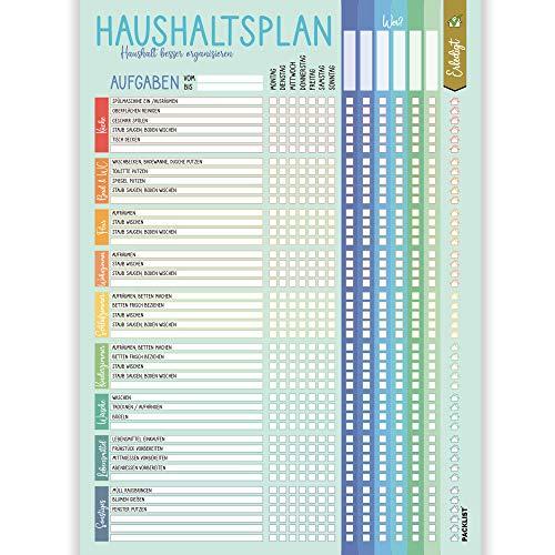 PACKLIST Haushaltsplan Putzplan für Familien mit Kindern oder WG, 50 Blatt. Haushaltsplaner Familie mit Aufgaben - Putzplan für den Haushalt, Putzkalender - Haushaltsplan Kinder, Haushalt Organizer