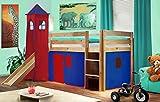 SixBros. Cama alta de niños cama de juego con torre y tobogán pino maciza...