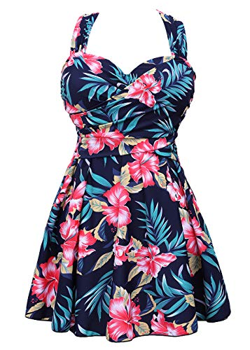 COCOPEAR Women's Elegant Crossover One Piece Swimdress Floral Skirted Swimsuit(FBA) Floral 43 M/6-8