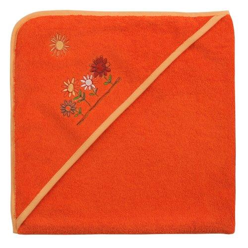 Mauz Grande serviette de bain à capuche en tissu éponge 100 x 100 cm (fleurs rouges clairs)
