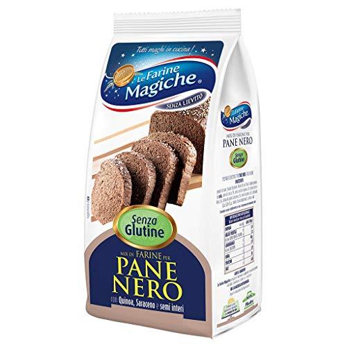 Le Farine Magiche Mix di Farine per Pane Nero, Senza Glutine e Senza Lattosio, ricca di Fibre e Sali minerali, ideale per Pane nero, Pizze e Focacce, Confezione da 300 g