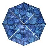 Kleiner Reiseschirm Winddicht Outdoor Regen Sonne UV Auto Compact 3-Fach Regenschirmabdeckung - Reife saftige Schwarze Blaubeere Nahtlos
