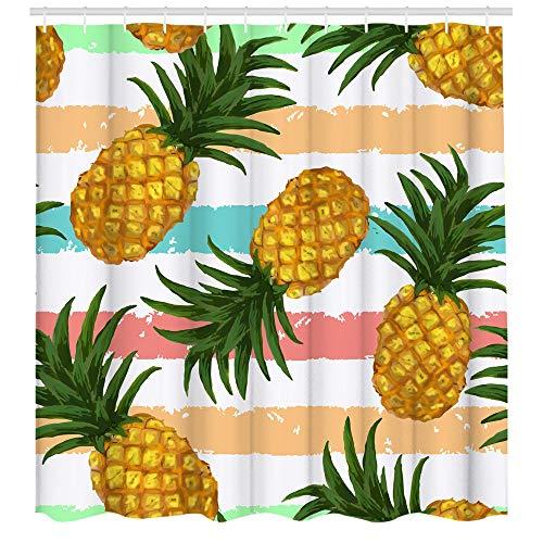 Lindo cortina de ducha de piña con patrón de rayas naranja verde azulado y rosa decoración de baño verano frutas tropicales con líneas de cepillo accesorios de baño regalos para niños 72 x 72 l