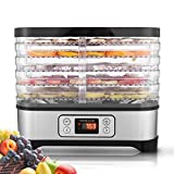 Tooluck 250 Watt Food Dehydrator Machine, Digital Timer and Temperature Control, 5 Trays Electric Food Dehydrator for Meat/Beef/Fruit/Vegetable, BPA Free (Black)