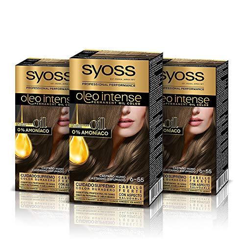Syoss Oleo Intense - Tono 6-55 Castaño Humo (Pack De 3) – Coloración permanente sin amoníaco – Resultados de peluquería – Cobertura profesional de canas