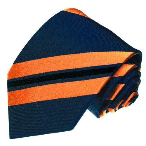 Lorenzo Cana - Luxus Krawatte aus 100% Seide - Seidenkrawatte blau orange schwarz gestreift Streifen - 77018
