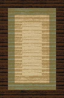 Doormat 18x30 Brown Border Stripe Kitchen Rugs and mats   Rubber Backed Non Skid Rug Living Room Bathroom Nursery Home Decor Under Door Entryway Floor Non Slip Washable   Made in Europe