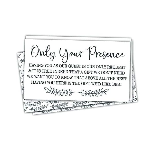 50 No Gifts Request Invitation Insert Cards – Baby Shower, Bridal Shower or Any Special Event