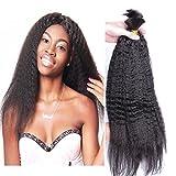 Hesperis Brazilian Afro Kinky Straight Hair 10A Mink Brazilian Virgin Hair Human Braiding Hair Bulk No Weft Brazilian Kinky Straight 100g Per Bundle (24inch, natural color)