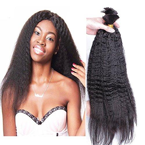 Hesperis Brazilian Afro Kinky Straight Hair 10A Mink Brazilian Virgin Hair Human Braiding Hair Bulk No Weft Brazilian Kinky Straight 100g Per Bundle (20inch, natural color)