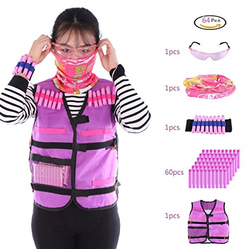 PeleusTech Tactical Vest Kit, Girls Tactical Vest for Nerf Guns N-Strike Elite Series with 60 Refill Darts + Face Cover + Goggles + Wristband (Type E)