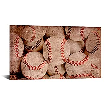 Biuteawal Baseball Canvas Prints Wall Art Baseball Theme Vintage Brown Background Sport Wall Pictures Painting Modern Wall Artwork Framed for Home Office Boys Bedroom Decor Ready to Hang