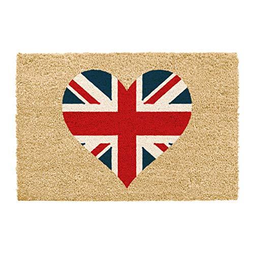 CKB LTD Felpudo único con diseño de bandera de Reino Unido en forma de corazón para puerta delantera/trasera, hecho con un respaldo antideslizante de PVC de coco natural, interior y exterior