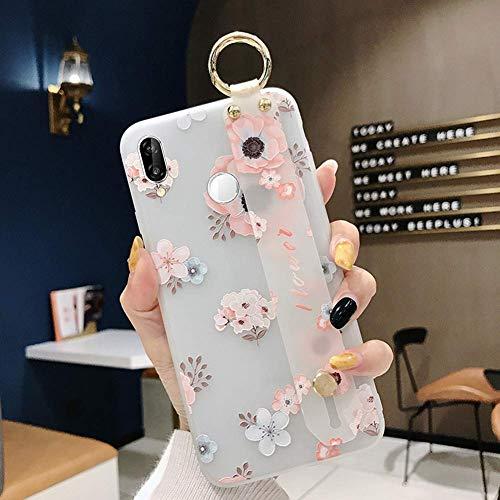Herbests Kompatibel mit Huawei P20 Lite Hülle Blumen Flower Handyhülle mit Handschlaufe Ständer Ultra Dünn Schutzhülle Stoßfest Matt Hülle Silikon Tasche Case Backcover,Weiß Rosa