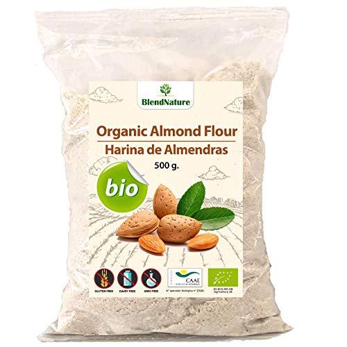 Harina de Almedras Ecologica 500g - Ideal para Reposteria Macarons y Keto – Sin Gluten – BIO 100 % Certificada – Natural de Origen Nacional – Molida