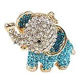 BIGBOBA Llavero de moda de aleación de metal con brillantes, diseño de elefante azul, anillo de cristal, para bolso, cartera, tamaño: 5 x 6 cm