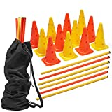 18 Pcs Adjustable Speed Agility Training Hurdles Set| 12 Durable Plastic Cones & 6 Poles - Ideal for Kids, Outdoor Games & Sports, Soccer, Tennis, Football & Dog Training| with Drawstring Carry Bag.