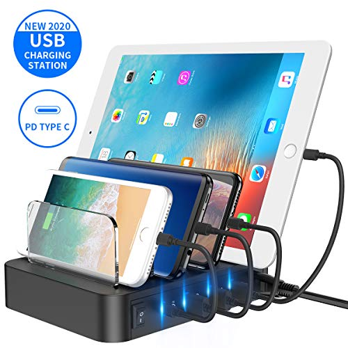 USB Charging Station Dock, 5-Port Fast Charging Station Desktop Charger, USB PD 3.0 Charging Stand Organizer for USB-C Laptops, MacBook Pro/Air, iPad Pro, S10, iPhone 11/Pro/Max, S9/S8 and More