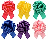 Large Assorted Mix Gift Wrap Pull Bows - 5' Wide, Ribbon Big Pull Flower Bows for Gifts and Presents, Set of 6 (Assorted Mix)