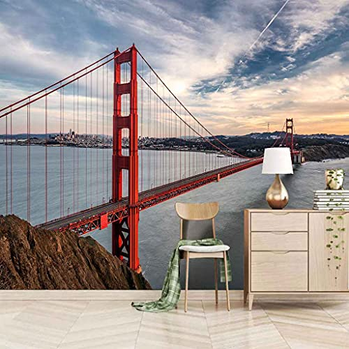 SUUKLI Modern Photo Wallpaper Red Golden Gate Bridge 3D Mural Wall Paper Living Room Tv Bedroom Boy Girl Children's Room Self-Adhesive Giant Sticker 3D Wallpaper Home Decoration 300X210Cm