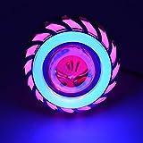 Gesh Lámpara de cabeza de motocicleta de 12 V, proyector de lente de luz con LED Angel Devil Eyes Faro 30 W 1200 lm 20000 H luz de doble apertura (rosa y azul)