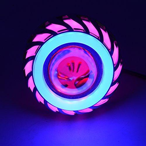 Cikuso 12v Moto Faro Luce Lampada proiettore Lente con LED Angelo Diavolo Occhi Faro 30w 1200lm 200000h Doppia Luce diaframma(Rosa e Blu)