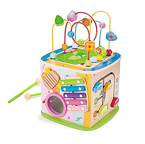 Zooawa Musical Activity Cube Play Center 15 in 1 Multiple Functions Baby Toy Center Colorful Educational Activity Pyramid with Music Sound for Learning /& Sense Development for Toddlers and Kids