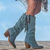 Botas altas de mujer Botas de vaquero occidental, botas largas del tacón alto con la bota redonda de la señora con flecos para el bota de senderismo al aire libre de otoño de invierno,Blue-40