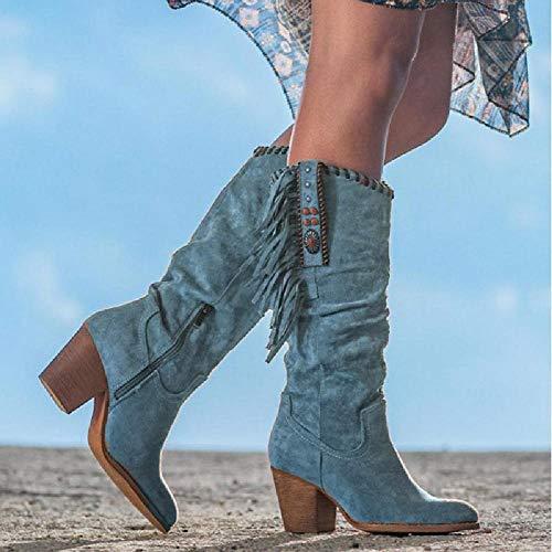 DIQIU Botas Altas para Mujer Bota De Vaquero Occidental, Botas Largas De Tacón Alto con Flecos Bota De Gamuza con Punta Redonda para Mujer para Invierno Otoño,Blue-37