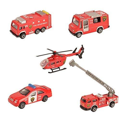 BOHS 5 Piezas - Vehículos Rescate del Departamento Bomberos - Fundiciones en Miniatura Metal - Camiones Bomberos con Escalera aérea, helicóptero Rescate, camión Bomberos con Tanque Agua, patrullas
