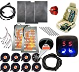 WATERCARBON 12v car Heated and Cooled seat pad Kits System LCD 5 Files Heat/Cool Round Switch Automotive seat Warmer Covers and Ventilation Cushion 8 Fans 1 seat-Blow Wind Style