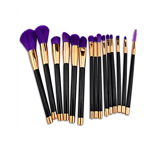 YLiansong Pinceau Fond de Teint, 15 pinceaux de Maquillage avec des brosses en Or Rose. idéal pour Le modelage, l'ombrage (Couleur : Noir)