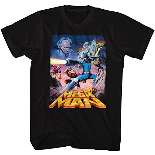 American Classics Mega Man Poster Megaman Video Game Robot Android Adult T-Shirt Black