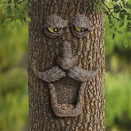 HOOJUEAN Comedero para colibrí al aire libre, decoración de la cara del árbol al aire libre, árbol de Pascua, viejo árbol de fruta, bayas de pájaros, apto para decoración al aire libre del hogar