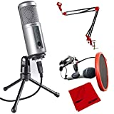 Audio-Technica Cardioid Dynamic USB Microphone (ATR2500-USB) with Microphone Suspension with Boom Scissor Arm Stand, Universal Pop Filter Microphone Wind Screen & Microfiber Cloth