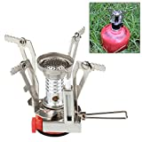 Flexzion Mini Camping Stove Ultralight Backpacking Propane Canister Burner with Piezo Ignition Collapsible Portable Outdoor Picnic Hiking Cooking Accessory
