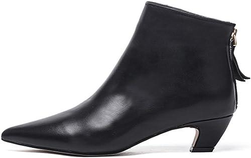 Darco Gianni Femme Noir bottines Cuir Cuir Bottes Courtes Hivernale Pointue Chaussures talon de Bas bloc  prix bas discount