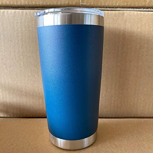 Xiaobing 20OZ plástico rociado Color sólido Taza de Coche de Doble Capa de Acero Inoxidable Taza de Hielo Taza de café-Navy-20OZ / 590ML
