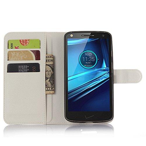 Ycloud Tasche für Motorola Moto Droid Turbo 2 Hülle, PU Ledertasche Flip Cover Wallet Hülle Handyhülle mit Stand Function Credit Card Slots Bookstyle Purse Design weiß