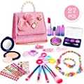 balnore 27 PCS Pretend Makeup Toy Set for Girls Safe & No-Toxic Makeup Kit for Kids Fake Make Up Kits Cosmetics Set with Fashion Pearl Bag for Little Girls Birthday Christmas.