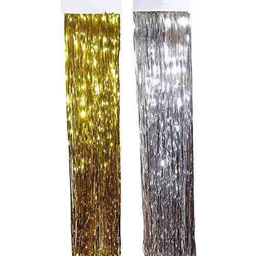 ka Lametta Glitzer Vorhang 50x40cm Party Deko Fransenvorhang Weihnachten Gold Silber Gold