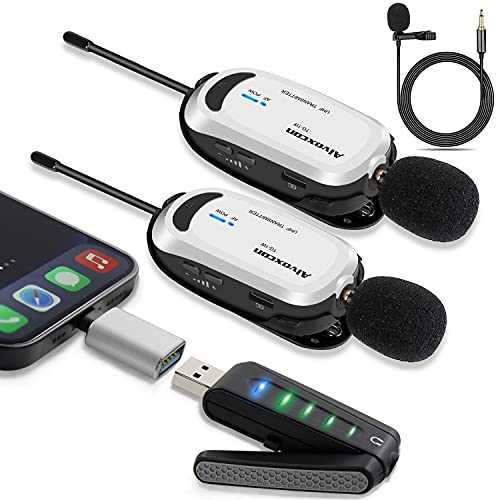 Wireless lavalier Microphone for iPhone & Computer-Alvoxcon USB Dual Lapel Mic System for Android, PC, Laptop, Speaker, Podcasting, Vlog, YouTube, Conference, Vocal Recording, (with Monitor Jack)…