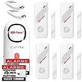 Ker-France - Kit Alarme Maison de 120 DB - Alarme Porte et fenêtre - avec 4 Détecteurs - 2 Télécommandes - 8 Stickers - Alarme sans Fil - Alarme Appartement-Alarme de Camping Car