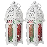 2 uds, Candelabro de castillo Vintage, faroles de vela de Metal, farol colgante de estilo Vintage para interior, exterior, Color blanco