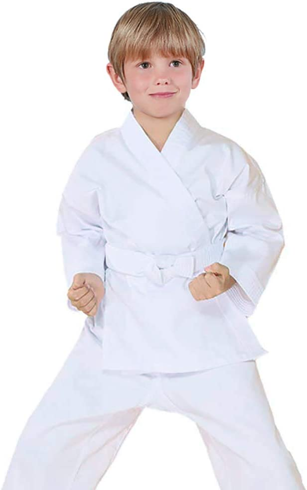 FLUORY Karate Uniform with Belt White Karate Gi for Adult /& Children Size 000-6