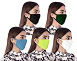 Stylore Pack of 5 Breathable Cotton & Spandex  Double Layer  Washable Covering  Comfortable  Reusable   Outdoor Face Mask with Adjustable Ear-Loops (Multicolor)