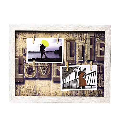 Marco para Colgar Fotos 40 x 30 cm sin Cristal con 6 Pinzas de Madera (Beige Fondo con Letras Love)