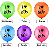 Gejoy 24 Stück Ich Liebe 80 Jahre Luftballons Sortiert Farbe Latex 80 Jahre Luftballons für 1980er Jahre Retro Themen Dekorationen Geburtstag Party - 5